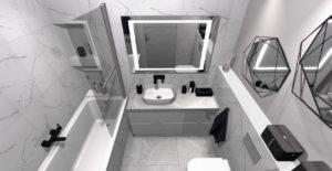 wąska łazienka z wanną i prysznicem