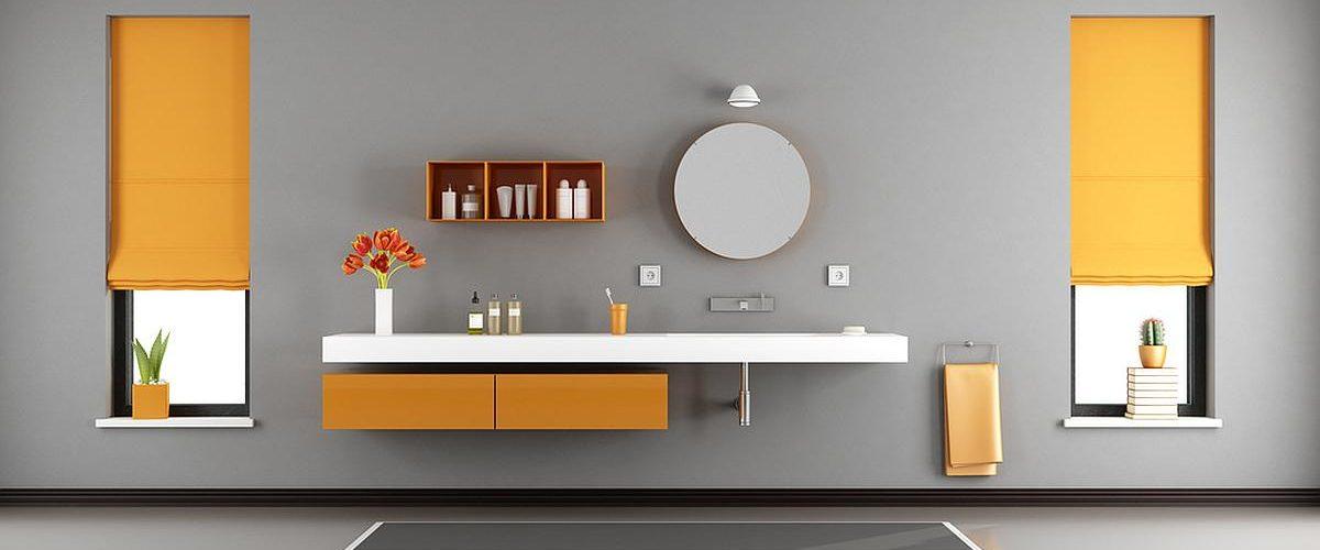Gray and orange modern bathroom with washbasin built in shelf - 3d rendering